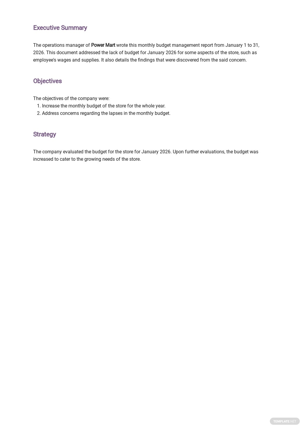 Free Monthly Budget Management Report Template 1.jpe