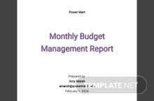 Free Monthly Budget Management Report Template