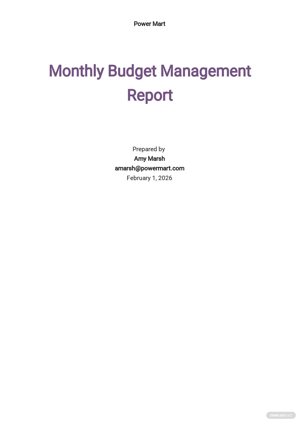 Monthly Budget Management Report Template