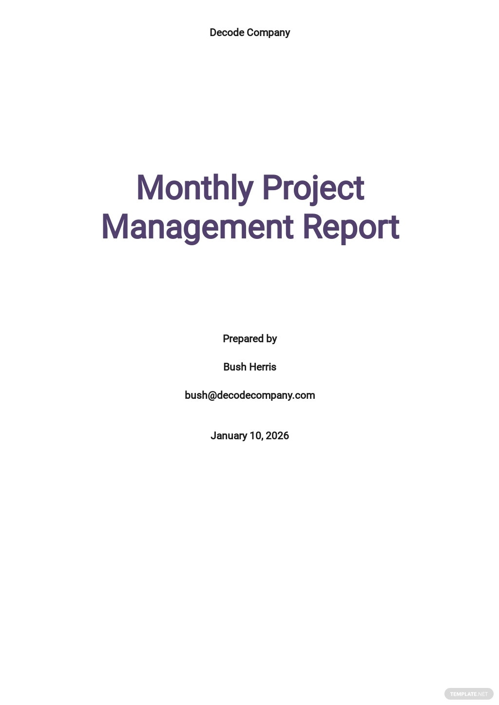 Monthly Project Management Report Template