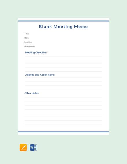 Blank Meeting Memo Template