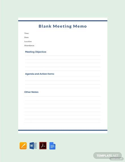 Free Blank Meeting Memo Template
