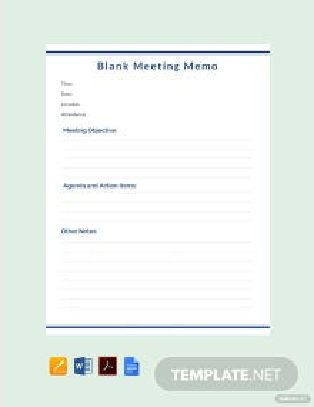 Free Blank Meeting Memo Template