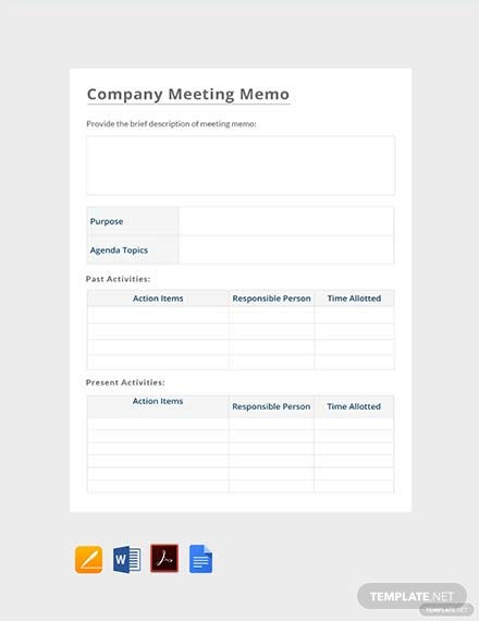 Free Company Meeting Memo Template