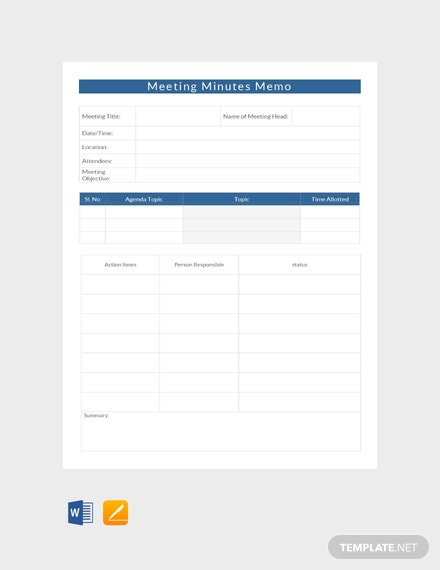 Meeting Minutes Memo Template