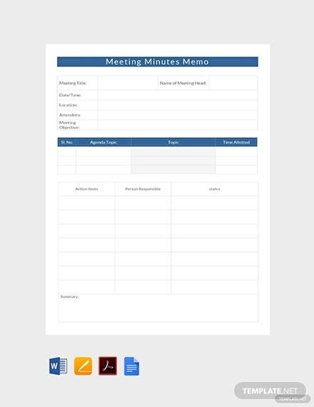 Free Meeting Minutes Memo Template