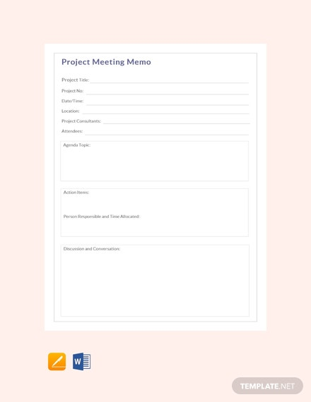 Project Meeting Memo Template