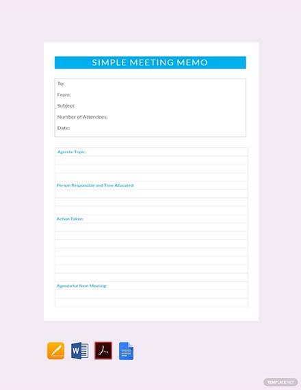 Free Simple Meeting Memo Template