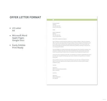 Free Offer Letter Format