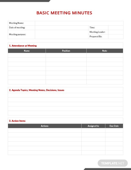 Simple Basic Meeting Minutes Template