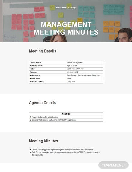 Free Simple Basic Meeting Minutes Template