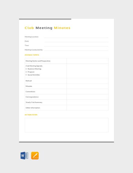 free sample club meeting minutes template download 65 meeting