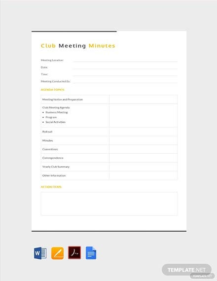 Free Social Club Meeting Minutes Template