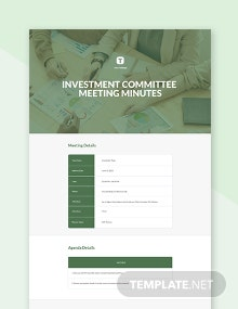 Free Investment Committee Meeting Minutes Template