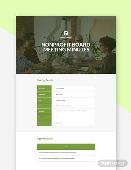 Free Non Profit Board Meeting Minutes Template