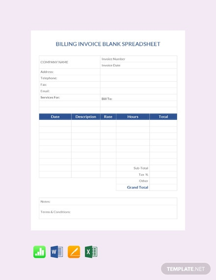 billing invoice blank spreadsheet template download 239 sheets in