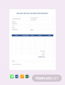 Free Billing Invoice Blank Spreadsheet Template
