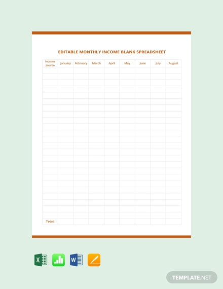 EditableMonthlyIncomeBlankSpreadsheetTemplate