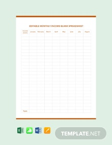 Editable Monthly Income Blank Spreadsheet Template