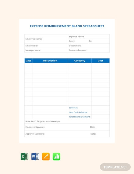 Free Expense Reimbursement Blank Spreadsheet Template
