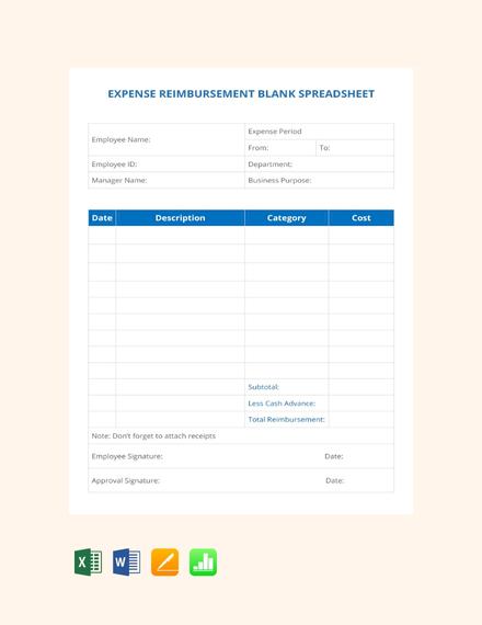 Expense Reimbursement Blank Spreadsheet Template