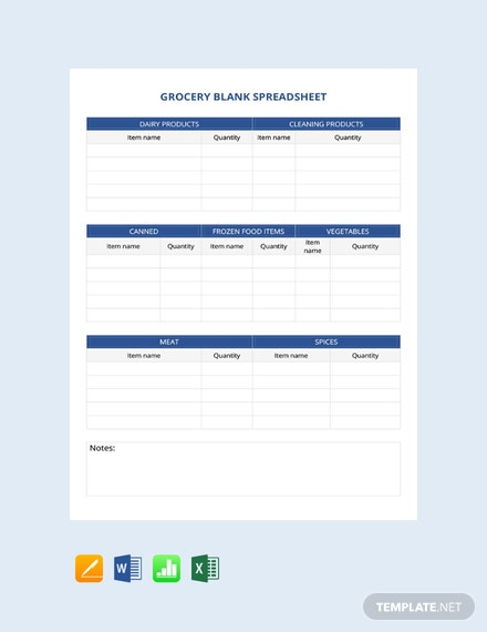 Free Grocery Blank Spreadsheet Template