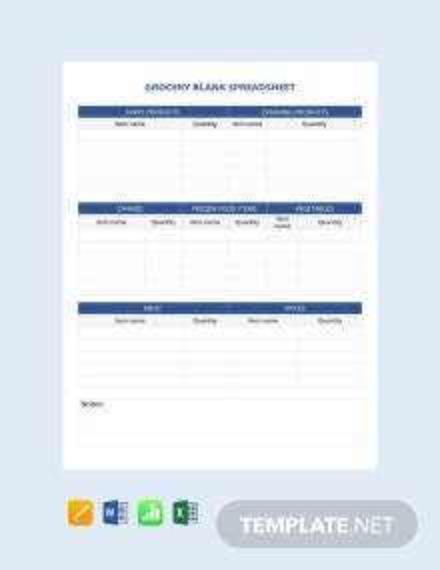 Grocery Blank Spreadsheet Template