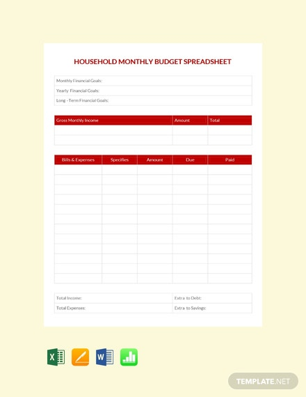Free Household Monthly budget Spreadsheet Template