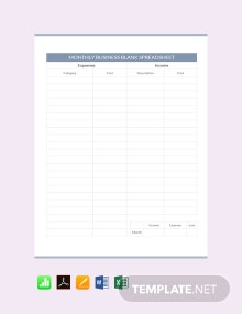 Monthly Business Blank Spreadsheet Template