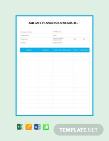 Free Job Safety Analysis Spreadsheet Template