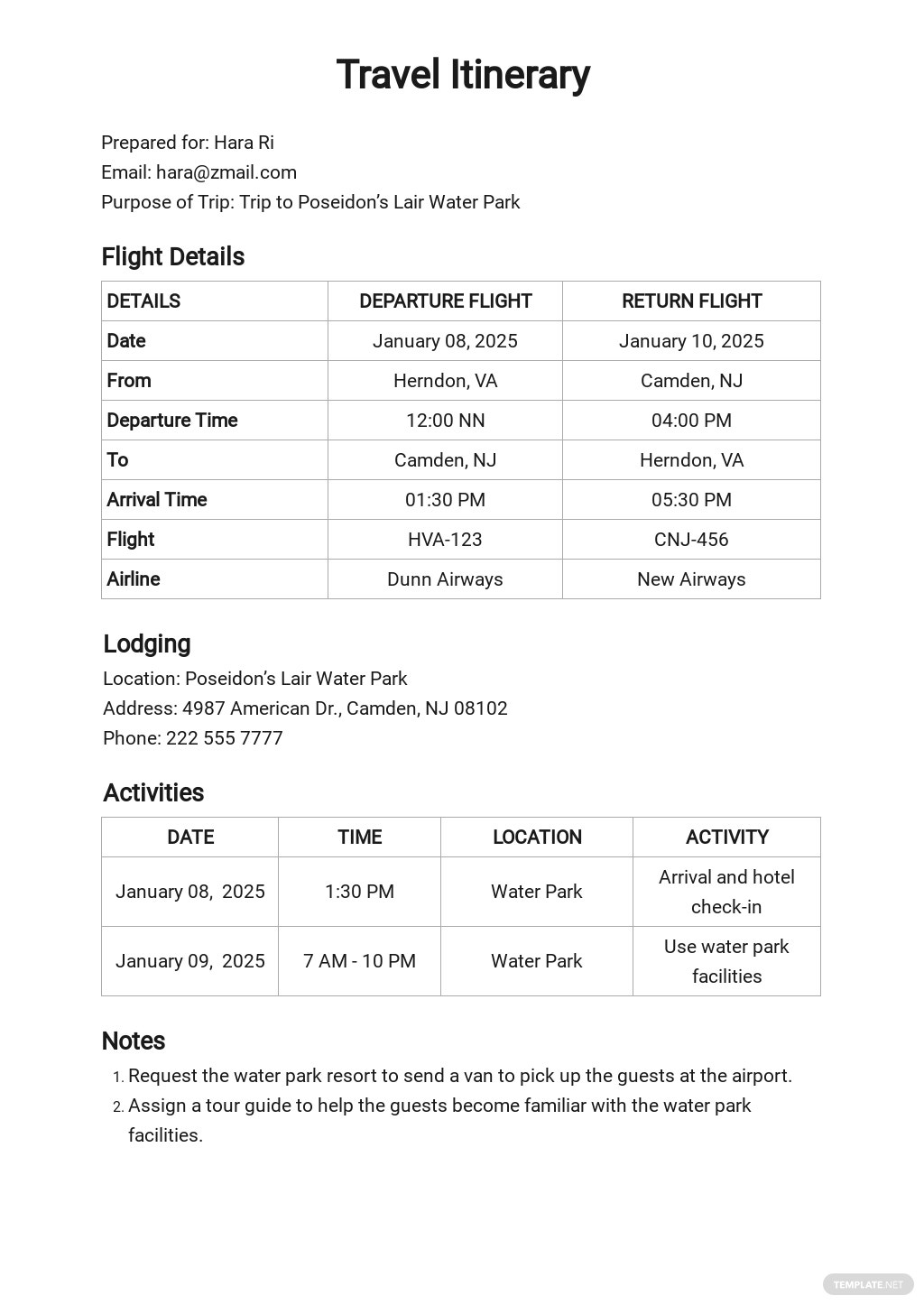 Travel Itinerary Spreadsheet Template