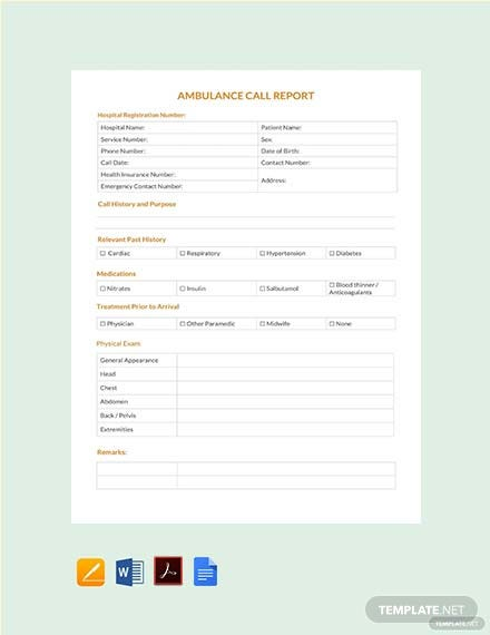 Free Ambulance Call Report Template