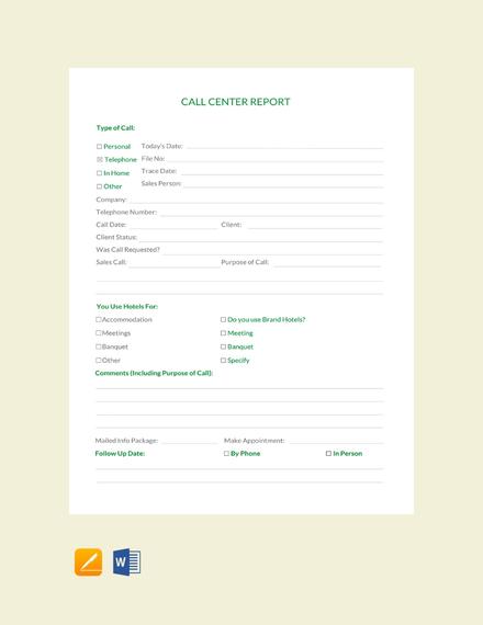 Call Center Report Template