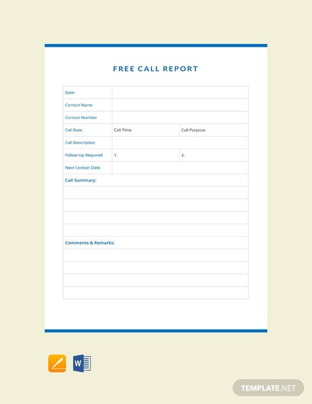 Free Call Report Template