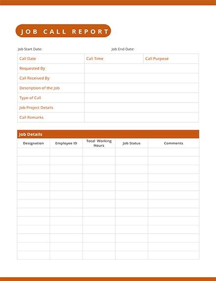 job call log report template