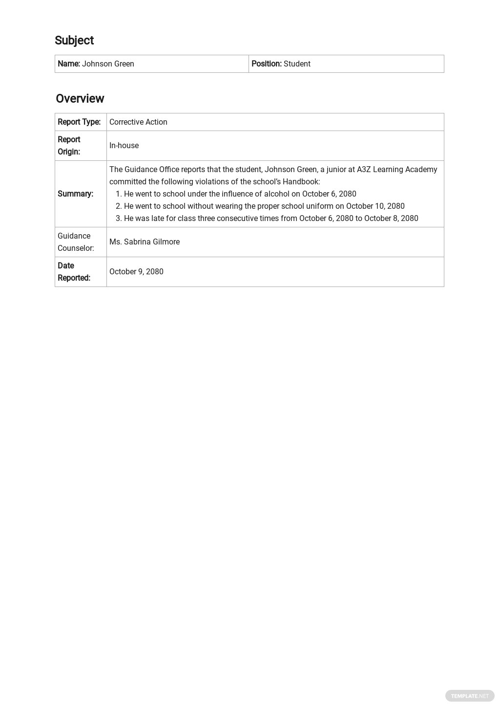 Free Parent Contact Report Template 1.jpe