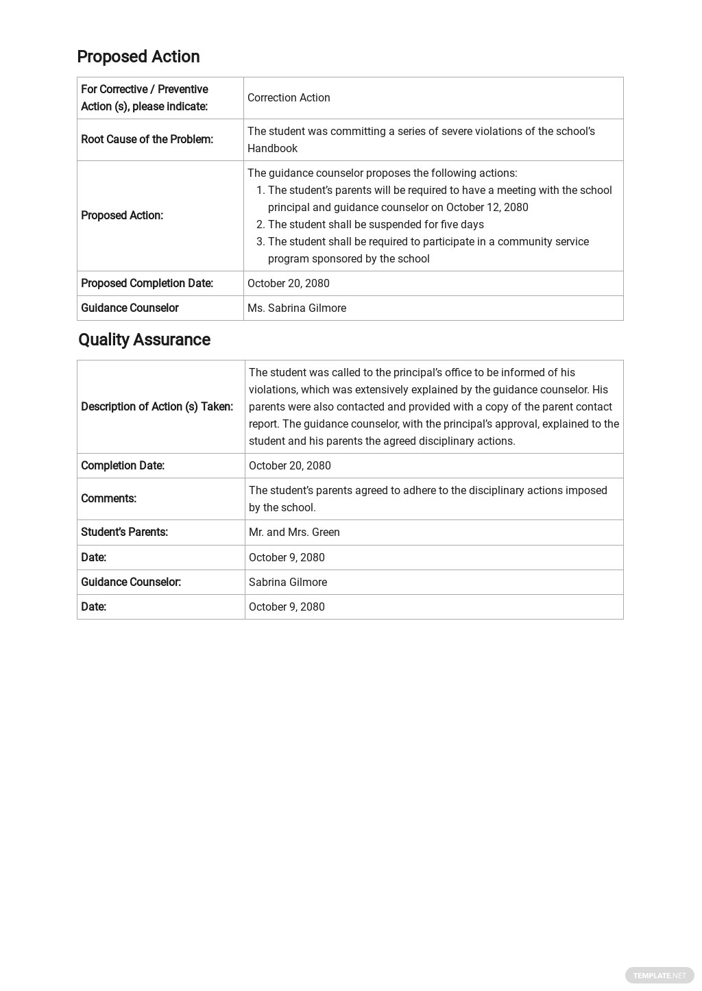 Free Parent Contact Report Template 2.jpe