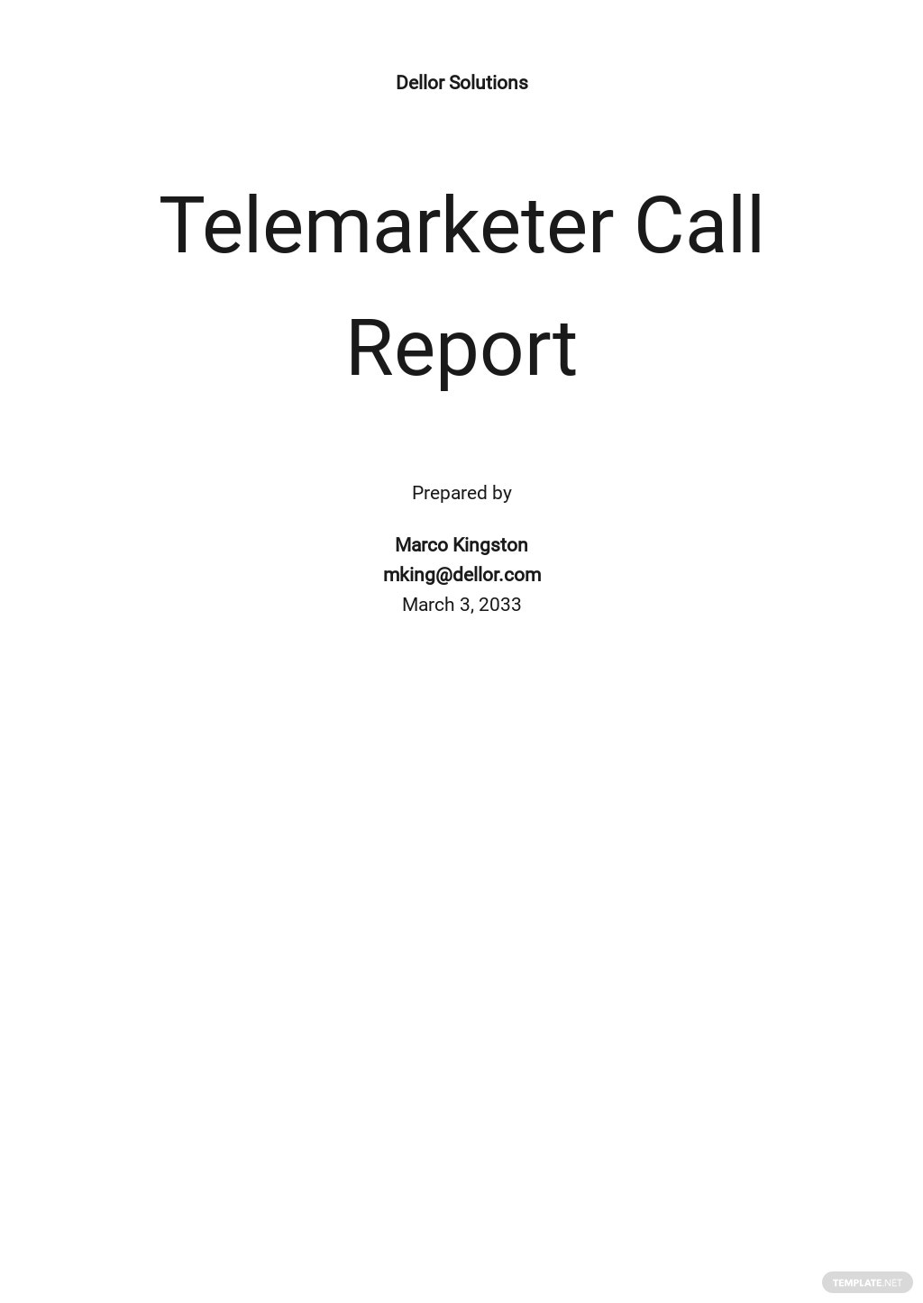 Telemarketer Call Report Template