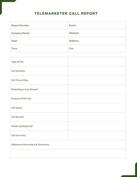 Telemarketer Call Report Template