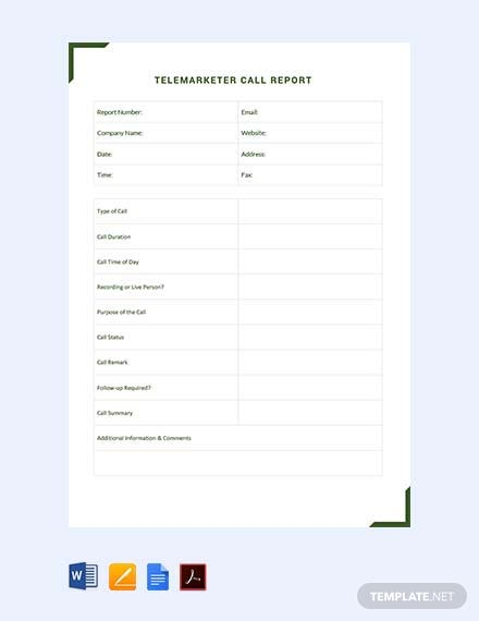 Free Telemarketer Call Report Template