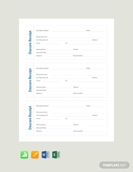 Free Blank Daycare Receipt Template