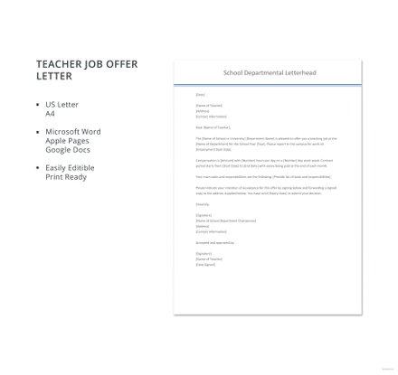 Free Teacher Job Offer Letter Template
