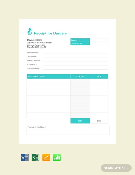 Receipt For Daycare Template