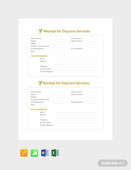 Receipt For Daycare Services Template