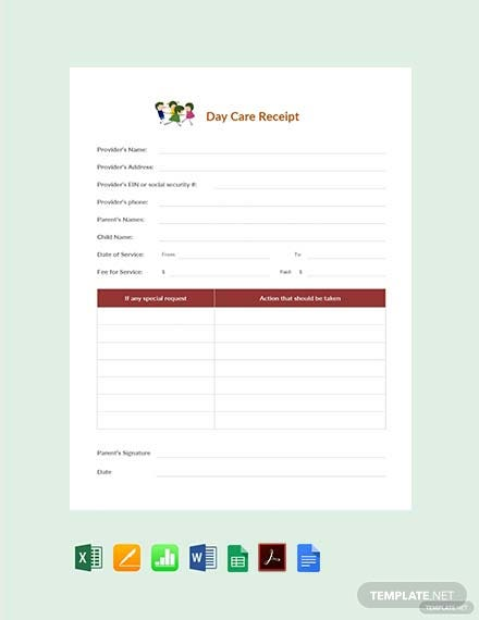 Sample Daycare Receipt Template