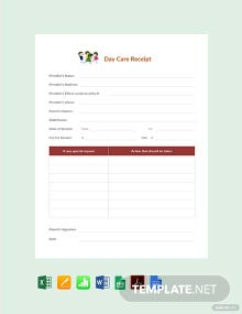 Free Sample Daycare Receipt Template