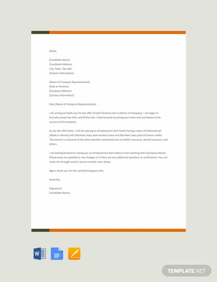 Free Thank You Offer Letter Template