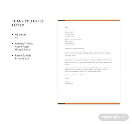 Thank You Offer Letter Template