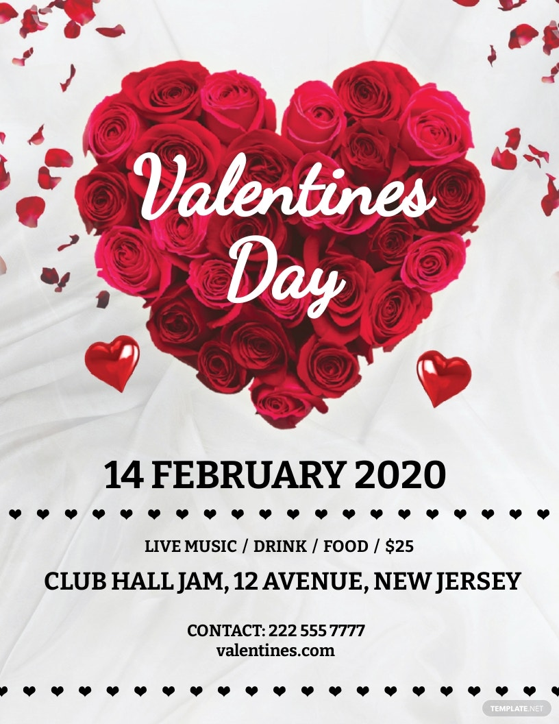Valentine's Day Rose Flyer Template