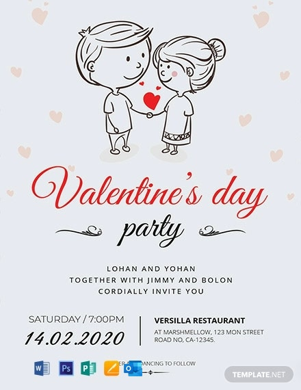 Cartoon Valentine Invitation Card